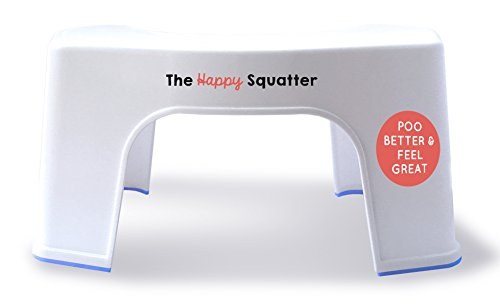 The Happy Squatter Anti-Bacterial Anti-Slip Toilet Stool and Posture Step | One Size Fits All Toilets | Squat Position for the Loo | Made in the UK