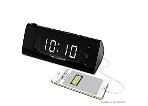 Magnasonic USB Charging Alarm Clock Radio with Time Projection, Battery Backup, Auto Time Set, Dual Alarm, 1.2' LED Display for Smartphones & Tablets (EAAC475W)