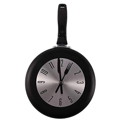 Weikeya Metall Pfanne Besteck Wanduhr, Leise Nicht Tickende Dekorativ Bratpfanne Design Uhr Batterie Betrieben Uhr für Küche, Wohnzimmer, Schlafzimmer, 8 Inch - Schwarz