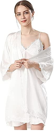 Pijama Robe for dormir 2 piezas vestido vestido dormir camisón correa negligee nightdress kimono bata Traje de encaje (Color : White, Size : M)