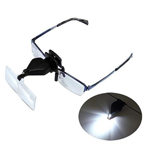 YRYBZ Lupa con Luz Led Lupas De Gran Aumento Leer Extensiones De Pestañas Reparación De Joyería Gafas Lupa Visera Y 3 Lentes Intercambiable (1.5X,2.5X,3.5X) A/A