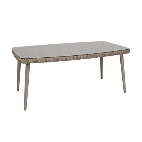 greemotion Mallorca Tisch, Aluminium/Polyethylengeflecht halbrund/Glas, braun, 100 x 180 x 76 cm