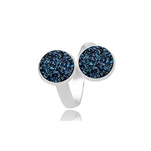 yichahu Anillo ajustable de piedra de cristal natural de drusa, anillo de diamante de imitación (plata + azul)