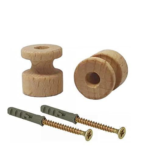 Aisladores de madera barnizables para cables eléctricos trenzados. Incluye tornillos y tacos....
