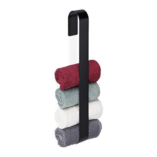 Relaxdays Handtuchhalter Wand, 430 Edelstahl, Handtuchstange 45 cm, selbstklebend & magnetisch, Gästetuchhalter, schwarz 10034395 1 stück