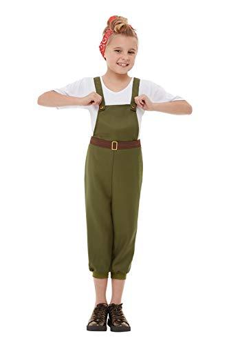 Smiffys 50741L WW2 - Disfraz de niña de la pequeña tierra, verde, talla L, para niños de 10 a 12 años