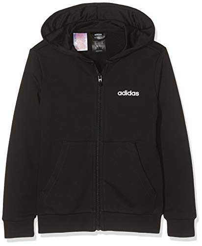 Adidas Youth Boys Essentials Linear Full Zip Hoodie, Track Tops Bambino, Black/White, 15-16A