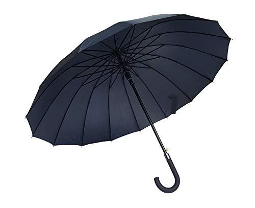 Paraguas clásico Negro de 16 Varillas Antiviento Gran tamaño XXL 110 cm Apertura automática