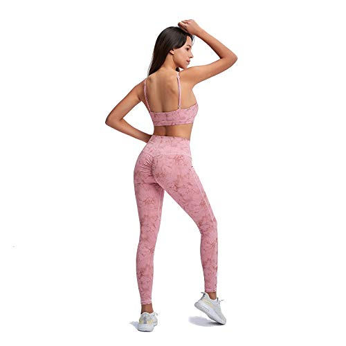 Leggings y Sujetador 2 Piezas Conjuntos de Deporte Cintura Alta Vientre Plano Push Up Leggings Sin Costura Sujetador Deportivo Pantalones Gym Yoga Workout Fitness Pilates,Rosado,L