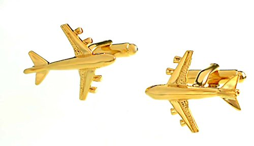magdalena r. Manschettenknöpfe Passagier Flugzeug vergoldet glänzend + Geschenkbox