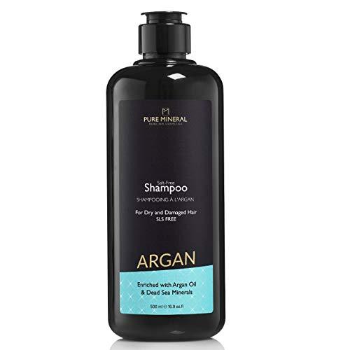 Pure Mineral Champú de Aceite de Argán 500 ml / 16,9 Oz.Fl. Enriquecido con Minerales del Mar Muerto y Aceites Naturales Tratamiento Fortalecedor del Cabello