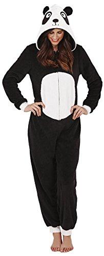 LD Outlet - Pigiama intero per donne e ragazze, maniche lunghe, in pile, con cappuccio, funge anche da accappatoio Nero / Bianco Panda L