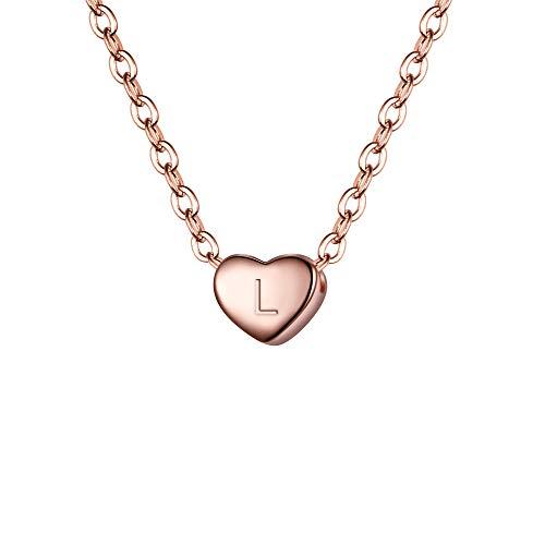 Clearine Damen Choker Halskette 925 Sterling Silber mit Buchstabe A-Z kleine Initial Herz Anhänger Kette Halsband Buchstabe L 14K Rose-Gold-Ton