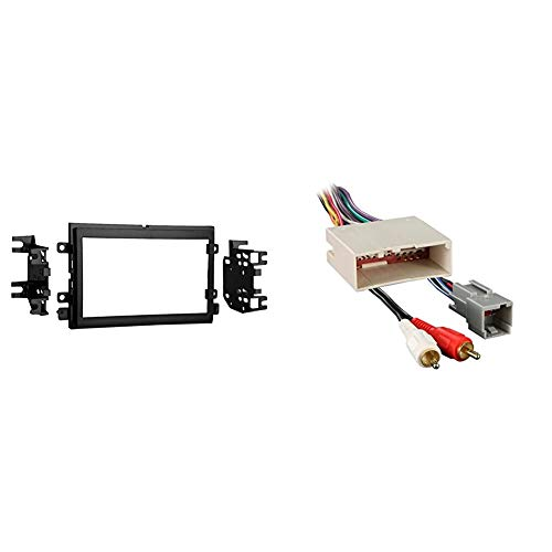 Metra 95-5812 Double DIN Installation Kit for Select 2004-up Ford Vehicles -Black & 70-5521 Radio Wiring Harness for Ford 03-Up Amp