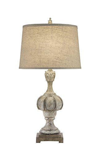 Catalina Lighting 19951-001 Transitional 3-Way Weathered Distressed Wood Inspired Table Lamp with Oatmeal Linen Modified Drum Shade with Cream Silken Liner, 29.5u0022, Light Brown