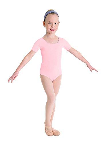 Kinder Ballett Body mit kurzem Arm und rundem Halsausschnitt rosa Gr. 6-7
