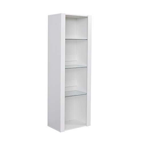 Panana Modern Tall Display Cabinet Cupboard High Gloss Fronts Storage Cupboard with RGB LED Lights Living Room White