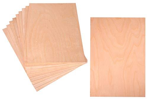 Lot de 10 plaques de contreplaqué 3 mm 30 x 21 cm – En bois contreplaqué de bouleau 3 mm A4 – Matériau parfait pour travaux manuels, laser, pyrogravure (10)