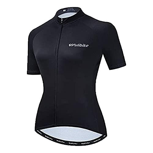Lo.Gas - Maglia da ciclismo da donna, a maniche corte, traspirante, in rete, 3 tasche posteriori, UPF50+, Nero , S