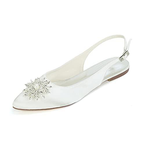 Zapatos de Novia Mujer, Moda Sencillez el Verano Sandalias con Pedrería Puntiagudo...