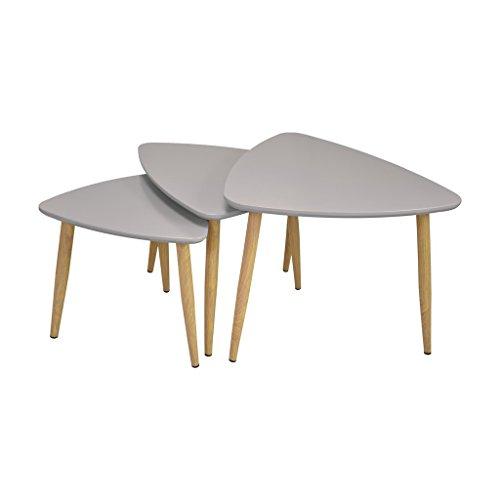 Zons Set De 3 Mini Tables Basses 60x58xH43,5cm / 52x50xH39,5cm / 42x40xH35,5cm Taupe