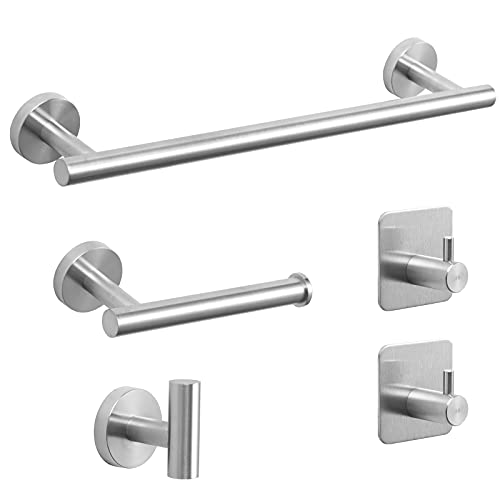 Bathroom Hardware Set, 304 Stainless Steel Towel Bar Set - Include 16'' Hand Towel Bar, Toilet Paper Holder, 3 Towel Hooks, Round Wall Mounted Silver Bathroom Accessories (Silver)