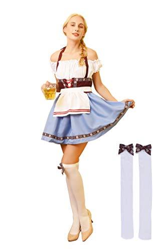 SHANSHAN Womens Oktoberfest Costume Bavarian Beer Girl Maid Dress Plus-Size German Dirndl Dress Blue