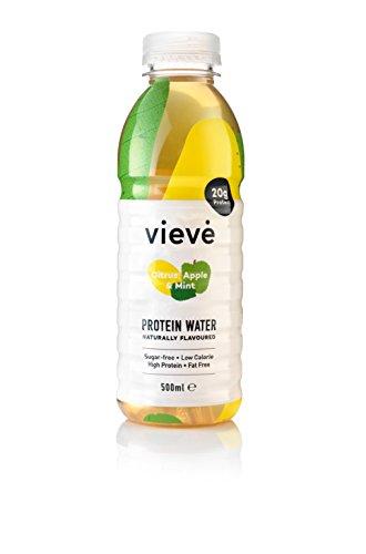 Vieve Acqua Proteica - Gusto Agrumi Mela e Menta - Contiene 20g Proteine, Senza Zucchero, Senza Grassi e Senza Lattosio - Bevanda proteica Alternativa a Polveri e Frullati - Confezione da 6 x 500 ml
