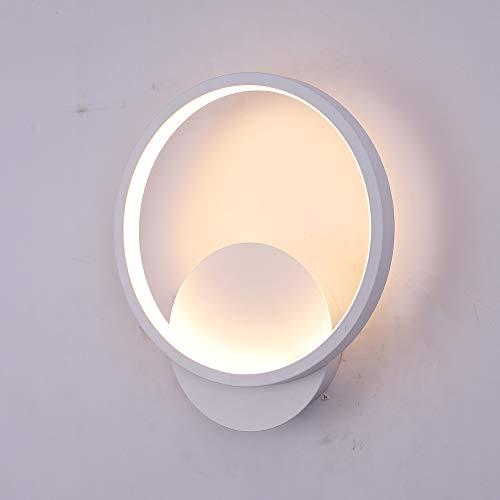 Applique mural interieur,LED 12W applique murale moderne Ronde Blanc Chaud 3000K pour Chambre Salon Escalier Couloir [Classe énergétique A+]
