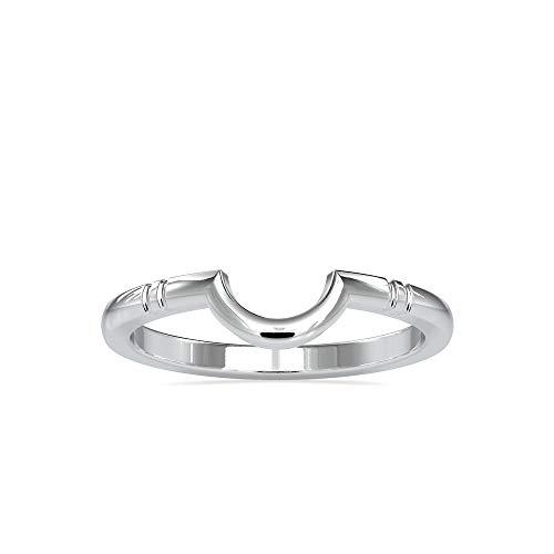 Anillo de media luna certificado VVS en oro blanco y amarillo de 14 quilates para mujer, anillo de aniversario para mujer, anillo de boda para ella (oro de 14 quilates)