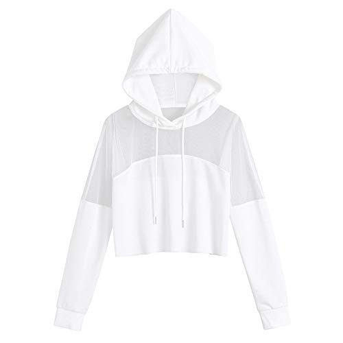 Deloito Mode Sweatshirt Damen Übergröße Boho Solide Bluse Spleiß Shirt Lange Ärmel Kapuzenpulli (Weiß,M)