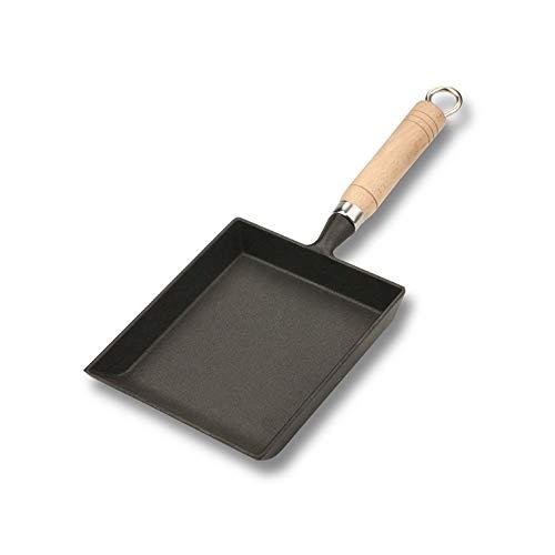 Joomke Kitchen aid Signature Gusseisen-Bratpfanne unbeschichtet mit großem Bratbereich und Cool-Touch-Holzgriff, für alle Kochfeldtypen, 15 cm