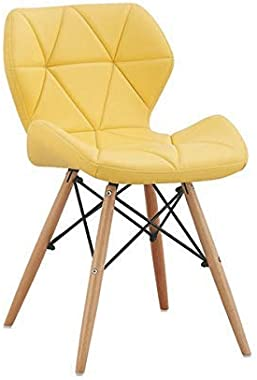 Deal Dhamaal Eames Replica Faux Leather Dining Chair for Cafeteria, Side, Living Room Chair in Yellow Color
