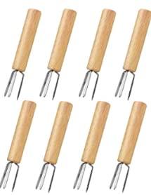 ANTHYTA 8 PCS Tenedores para Barbacoa para Maíz Brochetas de Acero Inoxidable para Maíz Pinchos de Maíz para Barbacoa con Mango de Madera Soporte para Mazorcas de Maíz para Fruta Embutido Parilla