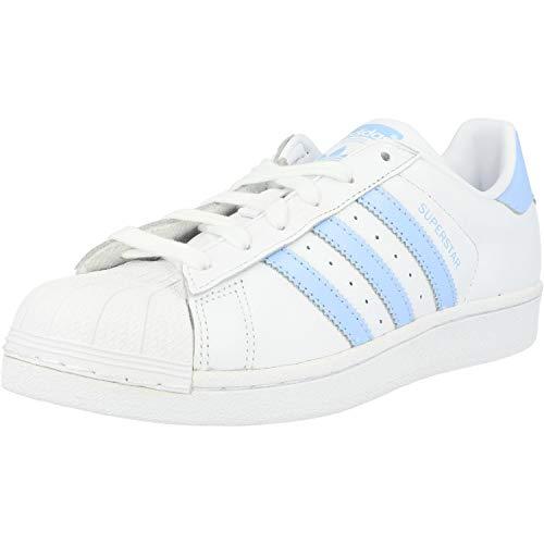 adidas Women's Superstar W Gymnastics Shoes, White (FTWR White/Glow Blue/Core Black FTWR White/Glow Blue/Core Black), 3.5 UK