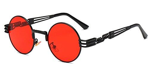BOZEVON Estilo retro de Steampunk inspiró las gafas de sol redondas del círculo del metal para las mujeres y los hombres, Negro-Transparente Rojo