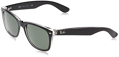 Ray-Ban New Wayfarer, Gafas de Sol Unisex adulto, Multicolor (Black and Transparent 6052), 52 mm