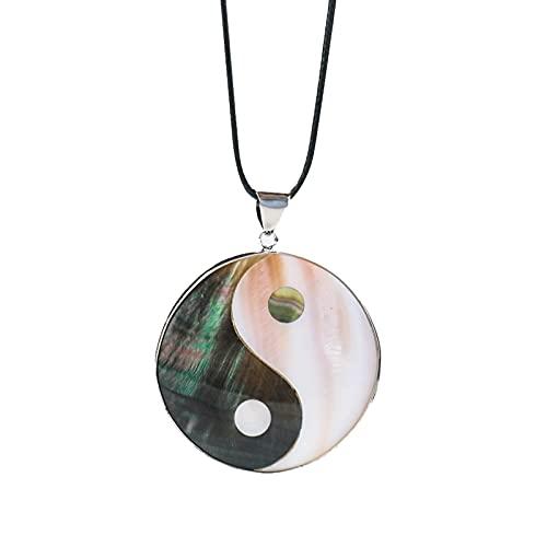 Revilium Natural Shell Yin Yang Símbolo Redondo Tai Ji Diagrama Collar Blanco Negro Madre Perla Colgante Taoísmo Chino Joyería Taoísta