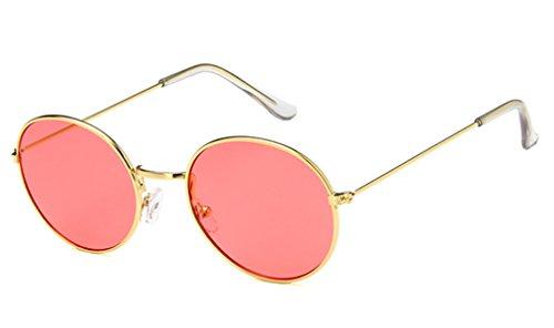 CHICNET Gafas de sol redondas de color dorado y plateado, 400 UV tintadas, para hombre y mujer, estilo hippie retro, vintage rojo