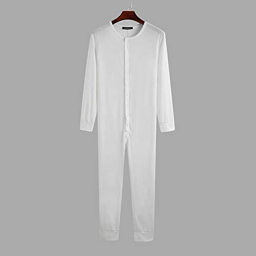 Schlafanzug Einfarbige Herren Pyjamas Jumpsuit Bequeme Langarm Fitness Button Nachtwäsche Freizeit Herren Strampler Homewear-Weiß_5XL