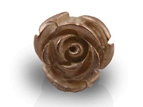 Mamma Bavaria - Ansteckpin Rose aus edlem galvanisiertem Metall (Roséfarben) - Rosen Anstecker für Tasche und Kleidung - Damen Ansteckblume Anstecknadel Pin mit 17 mm Durchmesser