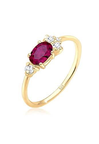 Elli PREMIUM Ring Damen Zirkonia Synthetischer Rubin in 925 Sterling Silber Vergoldet