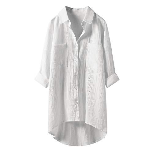 Lulupi Damen Bluse Oversize Langarm Shirt Baumwolle Leinen Hemdbluse Elegant Übergröße Longbluse Oberteil Einfarbig Lose Leinenbluse Lang Hemd Tops