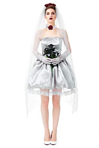 Bride Braut Brautkleid Kostüm-Set für Damen - perfekt für Fasching, Karneval & Halloween Cosplay
