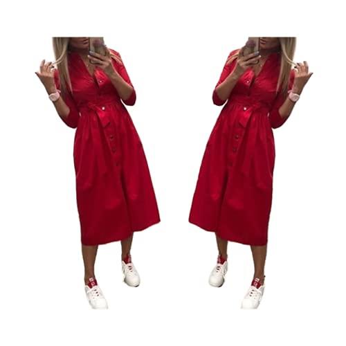 Mujeres utumn Casual fajas línea vestidos oficina señoras botón siete manga sólido
