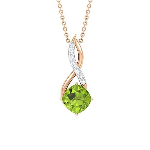 Rosec Jewels 18 quilates oro rosa cojín Round Brilliant Green Moissanite Peridoto creado en laboratorio