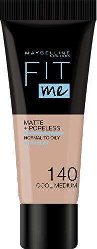 Maybelline New York - Fond de Teint Fluide Ton sur Ton Fit me! Matte and Poreless - Teinte : 140 Naturel rosé, NU