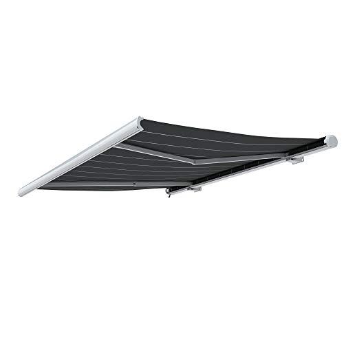 paramondo Markise Kassettenmarkise Curve Gelenkarmmarkise Balkon Terrasse Sichtschutz, mit jarolift Funkmotor, 5 x 3,5 m, Gestell: Weiß, Stoff: Uni, Anthrazit
