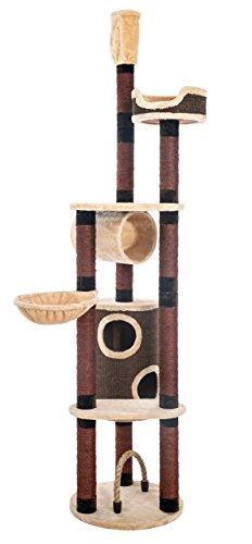 Opixeno Kratzbaum für große und schwere Katzenrassen, Deckenspanner, deckenhoch, braun-beige, 245-260cm hoch, besonders stabil