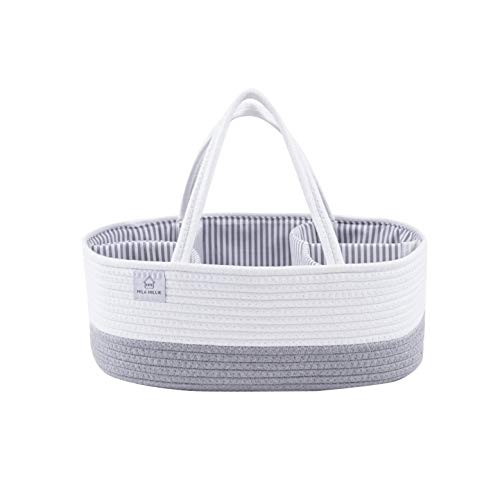 Mila Millie Baby Large Cotton Rope Diaper Caddy | Organizer Storage Bin for Nursery Essentials | Portable Bag for Changing Table and Car | 100% Natural Cotton | Eco Friendly (White & Gray)